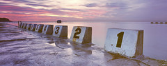 Countdown (rubberducky_me) Tags: ocean pink blue panorama film water swimming sunrise newcastle australia velvia baths nsw linhof 251 oceanbaths merewetherbaths linhoftechnorama linhoftechnorama617iiis