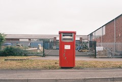 Petri Racer (camera_holic) Tags: film 35mm power geek poundland red color colour industrial estate post mail box south rangefinder gloucestershire analogue petri dull est racer glos beeches ind yate