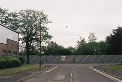 Petri Racer (camera_holic) Tags: power geek poundland 35mm film analogue petri racer rangefinder colour yate color south glos gloucestershire ind est industrial estate beeches dull road yellow lines hoarding pidgeon bird
