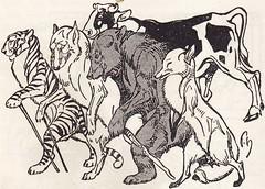 Die fidele Kommode / Seite 254 (micky the pixel) Tags: buch book livre humordichtung humor fikentscherverlag diefidelekommode illustration friedrichgäbel theodoretzel derochseaufderlöwenhochzeit fabel tiger wolf bär fuchs ochse