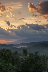 Sunrise in the Smokies (Kevin Povenz Thanks for all the views and comments) Tags: 2019 may kevinpovenz smokymountains tennessee gatlinburg mountains morning morningsky early earlymorning sunrise outside outdoors canon7dmarkii hills clouds tree cabin trees sunlit fog cloudy
