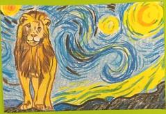 cat, stars, postcard (Snooky & Angie) Tags: cat star paper postcard mailart lion coloredpencils vangogh starrynight
