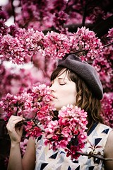 Woman smelling pink flowers outdoor (Gabriela Tulian) Tags: woman spring smelling blossom flowers tree relaxation relaxed enjoying leisure outdoors profile casual copyspace enjoyment flowering cool nature olfaction oneperson caucasian lightbrownhair quebec montreal canada pleasure senses youngadults millennials eyes closed young enjoy relaxing relax blossomingseason romantic flower grace beauty fragility mindfulness growth development twig sunlight attractive beautiful botanicalgarden sensuality shadow blossomingtree hair sunshine garden fragile sensual