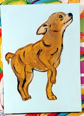 Painted dog ATC (Snooky & Angie) Tags: atc artisttradingcard chihuahua dog painting acrylic