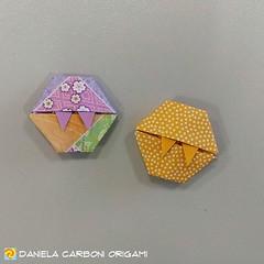 """Esagoni Mannari""  Modello creato nei giorni scorsi. Carta da origami decorata bicolore, lato 7,5 cm.  ------------------------------------------- ""Werexagons"" Model created in the last days. Double side coloured decorated kami, 7,5 cm edge.  #origami #ca (Nocciola_) Tags: paperart cartapiegata createdandfolded papiroflexia paperfolding wereexagon originaldesign danielacarboniorigami paper esagonomannaro origami"