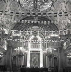 RO18 R4-09 Sinagoga Mare din Bucureşti (The Great Synagogue). Bucharest (Rolleiflex 3,5, Ilford HP5+) (Templar1307) Tags: bucharest bucuresti bucurestiilfov romania synagogue sinagoga jew jewish evrei evreu starofdavid magendavid rolleiflex tlr film ilford rollfilm blackwhite mediumformat analog hp5