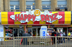 Happy Dayz amusements in Blackpool (Tony Worrall) Tags: blackpool resort place england english north northwest visit county town area northern location lancs lancashire uk fylde fyldecoast coastal tour country welovethenorth nw update attraction open stream item greatbritain britain british gb capture buy stock sell sale outside outdoors caught photo shoot shot picture captured ilobsterit instragram happydayz amusements sign color colourful rail people holiday