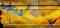 El Trabajador (Atelier Teee) Tags: terencefaircloth atelierteee mural streetart mileofmurals rogerspark chicago illinois dustinharris leahpinsky scythe hoe workers farmworkers saw football footballplayer overalls bird inkpot rain