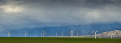 Field With Wind (somewheredowntheroadphoto) Tags: storm weather rain rainy clouds cloudy stormy windmill turbines grass color colorful light shadow shadows mountains desert