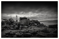 A little light upon the rocks (Andy J Newman) Tags: monochrome bw bandw blackandwhite coast d810 dorset lighthouse longexposure nikon portland sea seaside isleofportland england unitedkingdom