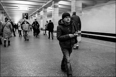 DRD160405_0369 (dmitryzhkov) Tags: urban outdoor life human social public stranger photojournalism candid street dmitryryzhkov moscow russia streetphotography people bw blackandwhite monochrome lowlight metro subway underground passenger night nightphotography transport