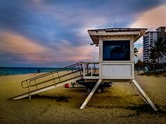 Beachwatch (Geoff Eccles) Tags: atlantic florida fortlauderdale baywatch beach blue evening hut lifeguard safety shack station sunset water
