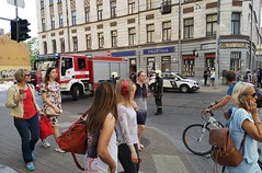 Fake bomb planting incident in central Riga, Latvia. June 6, 2019 (Aris Jansons) Tags: bomb incident fake street intersection summer city capital riga baltic europe police people cars vehicles