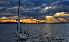 Racing the Tide (Mr_Pudd) Tags: horizon leith edinburgh flag pirateflag jollyroger stormcloud darkcloud lightrays light sunrays rays cloud sun sails westerleycentaur wychwood sailingboat highdynamicrange hdr sunset johnmuirway scotland musselburgh nikond750 nikon afsvrzoomnikkor2485mmf3545gifed lonesailor lonesailingboat nikkor sailor boat coast