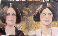 Fox Sisters Diptych (kevin63) Tags: lightner painting portrait woman youngwoman spirit spooky spiritualis medium rochester knockings raps hydesville kate maggie fox ghost afterlife communications
