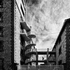 P5290585-2 (omj11) Tags: graphique marseille tour urbain architecture noiretblanc nuages carré olympus leica