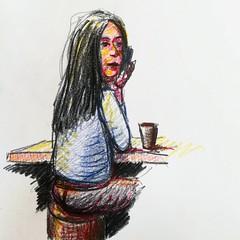 Croquis sur le vif. (Ceha :-)) Tags: dessin croquis esquisse drawing sketch woman people portrait crayondecouleur coloredpencils