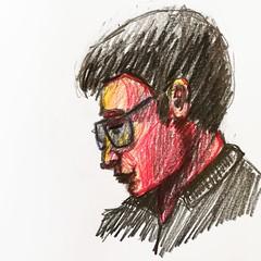 Croquis sur le vif. (Ceha :-)) Tags: dessin esquisse croquis drawing sketch portrait face people crayondecouleur coloredpencils