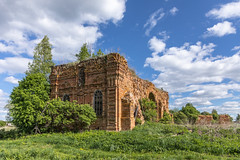 Church ruins. (Oleg.A) Tags: grass shadow spring landscape russia church nature brick outdoor rural orange clouds countryside summer ruined old sky destroyed building blue penzaregion architecture landscapes zasechnyy penzaoblast