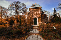 Old observatory in Debrecen (Peter Szasz) Tags: colourful calm canon clouds city clear 600d t3i old observatory wide wideangle 1018 1018mm outside outdoors orange brown vintage green grey grass trees autumn afternoon architecture dome door bricks peaceful park path walk walkway fall bright building bushes chill magyarország hungary debrecen hajdúbihar hajdu blue branches abandoned unused science