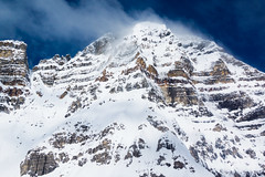 Peak (ellieupson) Tags: canmore canada alberta banff nationalpark aerial mountain view landscape blue white snow rock summit wind