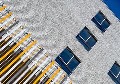 Reaching for the blue (jefvandenhoute) Tags: light abstract geometric lines belgium shapes belgië antwerp antwerpen nieuwzuid