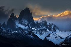 Shady Fitzroy (Jerzy Orzechowski) Tags: patagonia landscape sunset argentina fitzroy mountains blue rocks glacier clouds orange snow