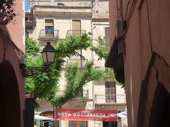 Carrer Vilanova del Mercadal, Montblanc to Plaça Major (ell brown) Tags: montblanc tarragona catalonia catalunya spain españa tree trees concadebarberà pradesmountains plaçamajor carrervilanovadelmercadal votasocialista sign banner