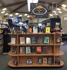 A Universe of Stories Display (Santa Cruz Public Libraries) Tags: scpl santacruzpubliclibraries santacruz apt aptoslibrary aptosbranchlibrary aptosbranch aptospubliclibrary aptosca display displays bookdisplay books