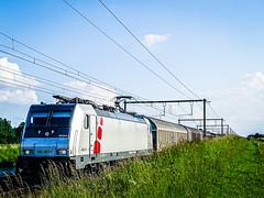 LINΞΛS 186 387-7 met schuifwagons @ s'Herenelderen (Avinash Chotkan) Tags: lineas akiem traxx br186 cargo trains belgium bombardier nature