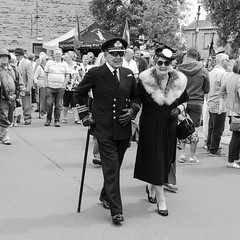 XPRO6988-1-2 Brighouse, uk. 1940's weekend June 1st 2019 (Lawrence Holmes.) Tags: fuji xpro1 xf1855mmf284rlmois brighouse 1940s 1940 reenactment nostalgia brighouse1940sweekendjune1st2019 blackandwhite streetphotography street calderdale westyorkshire uk brighouse1940sweekend lawrenceholmes