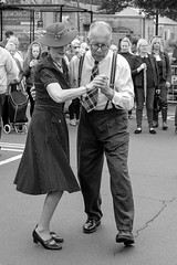 XPRO6955-1-2 Brighouse, uk. 1940's weekend June 1st 2019 (Lawrence Holmes.) Tags: fuji xpro1 xf1855mmf284rlmois brighouse 1940s 1940 reenactment nostalgia brighouse1940sweekendjune1st2019 blackandwhite streetphotography street calderdale westyorkshire uk swing brighouse1940sweekend lawrenceholmes
