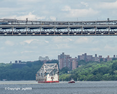 Old Tappan Zee Bridge Superstructure Remains floating on the Hudson River past the George Washington Bridge, New York City (jag9889) Tags: 1955 2019 20190606 barge boat bridge bridges bruecke brücke crossing dismantling gw gwb georgewashingtonbridge governormalcolmwilsontappanzeebridge hudsonriver infrastructure k004 k007 manhattan metal ny nyc newyork newyorkcity newyorkthruway outdoor pont ponte puente punt river scrap span structure suspensionbridge tappanzee tappanzeebridge transportation tug tugboat usa unitedstates unitedstatesofamerica uppermanhattan wahi washingtonheights water waterway workboat jag9889