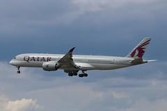 Qatar Airways Airbus A350-900 A7-ALH (Adam Fox - Plane and Rail photography) Tags: plane aircraft airliner jet airplane aeroplane sky clouds manchester airport egcc