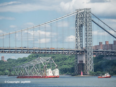 Old Tappan Zee Bridge Superstructure Remains floating on the Hudson River past the George Washington Bridge, New York City (jag9889) Tags: 1955 2019 20190606 barge boat bridge bridges bruecke brücke crossing dismantling gw gwb georgewashingtonbridge governormalcolmwilsontappanzeebridge hudsonriver infrastructure k004 k007 manhattan metal ny nyc newyork newyorkcity newyorkthruway outdoor pont ponte puente punt river scrap span structure suspensionbridge tappanzee tappanzeebridge tower transportation tug tugboat usa unitedstates unitedstatesofamerica uppermanhattan wahi washingtonheights water waterway workboat jag9889
