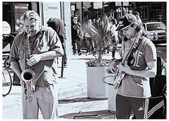 Beau Barry and Buddy - Jazzing Up Wicker Park (swanksalot) Tags: jazz beaubarry music wickerpark northavenue damen milwaukee tweeted toned blackandwhite bw musician saxophone bass strangers streetlife