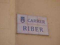 Carrer Riber, Montblanc - road sign (ell brown) Tags: montblanc tarragona catalonia catalunya spain españa tree trees concadebarberà pradesmountains carrerriber sign roadsign
