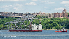 """Resolve Commander"" Tugboat with Old Tappan Zee Bridge Superstructure Remains floating down the Hudson River, New York City (jag9889) Tags: 1955 2019 20190606 barge boat bridge bridges bruecke brücke crossing dismantling governormalcolmwilsontappanzeebridge hudsonriver infrastructure k004 manhattan metal ny nyc newyork newyorkcity newyorkthruway outdoor pont ponte puente punt river scrap span structure tappanzee tappanzeebridge transportation tug tugboat usa unitedstates unitedstatesofamerica uppermanhattan wahi washingtonheights water waterway workboat jag9889"