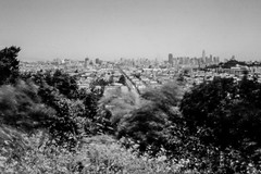 View from Bernal Hill (pinhole) (aweiss.sf) Tags: 6x9 acros100 agfa analog analogphotography analogue bernal bernalheights blackwhite california clack film filmisnotdead fujifilm ishootfilm landscape mission missiondistrict pinhole sanfrancisco