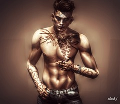 Waiting ♥♥ (slash marciano) Tags: music tag tattoo men pose artistic juna hair volthair cigarets cigaret cigarette solo pant head waiting ombre shadow brown relax portrait