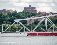 Old Tappan Zee Bridge Superstructure Remains floating down the Hudson River, New York City (jag9889) Tags: 1955 2019 20190606 barge boat bridge bridges bruecke brücke crossing detail dismantling governormalcolmwilsontappanzeebridge hamiltonheights harlem hudsonriver infrastructure k004 manhattan metal ny nyc newyork newyorkcity newyorkthruway outdoor pont ponte puente punt river scrap span structure tappanzee tappanzeebridge transportation tug tugboat usa unitedstates unitedstatesofamerica water waterway workboat jag9889
