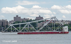 Old Tappan Zee Bridge Superstructure Remains floating down the Hudson River, New York City (jag9889) Tags: 1955 2019 20190606 barge boat bridge bridges bruecke brücke crossing dismantling governormalcolmwilsontappanzeebridge hudsonriver infrastructure k004 manhattan metal ny nyc newyork newyorkcity newyorkthruway outdoor pont ponte puente punt river scrap span structure tappanzee tappanzeebridge transportation tug tugboat usa unitedstates unitedstatesofamerica uppermanhattan wahi washingtonheights water waterway workboat jag9889