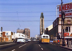 Bullock's Wilshire (jericl cat) Tags: 1954 losangeles history bullocks wilshire town house sheraton hotel neon scaffold sign streetlight bus american airlines billboard rx vermont boulevard vintage photo