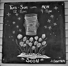 Blackrocks Brewing Hours (rabidscottsman) Tags: scotthendersonphotography chalkboard chalk bw blackandwhite slate flowers building brewery blackrocksbrewing mi michigan marquettemichigan upperpeninsulaofmichigan beer hours hoursofoperation travel travelphotography sign soon 411 swaftsea snowflakes nikon nikond7100 d7100 35mm nikkor nikkor35mmf18 primelens socialmedia usa unitedstatesofamerica