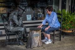 Sharon playing Checkers. (donnieking1811) Tags: tennessee lynchburg sharon checkers statue chairs flowers hdr canon 60d lightroom photomatixpro