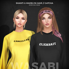 Shanti & Madelyn hair @ The Arcade (Wasabi // Hair Store) Tags: wasabipills 3d mesh hair secondlife maitreya lelutka glamaffair randommatter aviglam izzies kibitz dirtyprincess minimal catwa insol