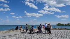 Families out and about in Toronto (Trinimusic2008 -blessings) Tags: trinimusic2008 judymeikle nature fence hff spring toronto to ontario canada waterfrontrecreationaltrail asharedpath mimico sky lake lakeontario gratitude june 2019 wheelchair sitting standing tilework