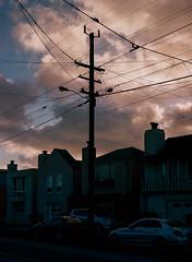 Sunset District, San Francisco, California (bior) Tags: red pentax645nii pentax645 pentax 645 mediumformat 120 sanfrancisco sunsetdistrict portra160nc expiredfilm kodakportra powerlines sky clouds silhouette
