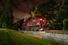 Nighttime Lights (ajketh) Tags: night exposure ge general electric k447 ethanol charlotte waxhaw hamlet nc north carolina ac4400 siding main light cp canadian pacific csx csxt freight train unit railroad monroe subdivision 9711