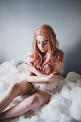 Barbie Dreams (oliviaquinnart) Tags: fineart photography fashionphotography lingerie vintage clothes pinup portraits clouds conceptual visualart tattoos piercings wig pink cottoncandy valentinesday cherries barbie model